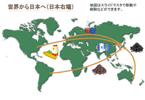 世界地図と輸入をイメージしたテンプレート(PowerPoint・パワーポイント)