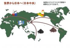 世界地図と輸入をイメージしたテンプレート02(PowerPoint・パワーポイント)