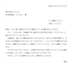 寄付のお礼状テンプレート02(Word・ワード)