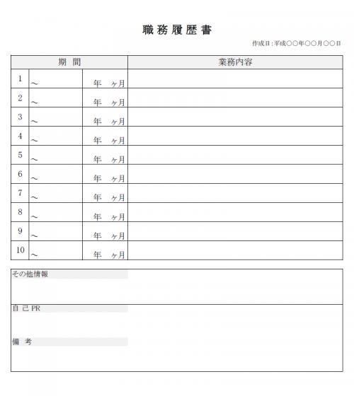 職務経歴書のテンプレート02(Excel・エクセル)