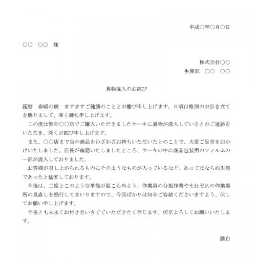 異物混入のお詫び文例テンプレート(Word・ワード)
