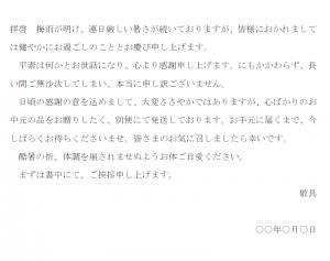 一般的なお中元の送り状の文例テンプレート03