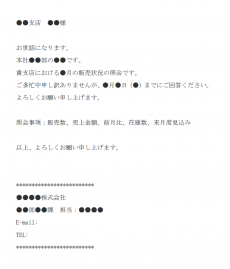 販売状況の照会のメール文例テンプレート