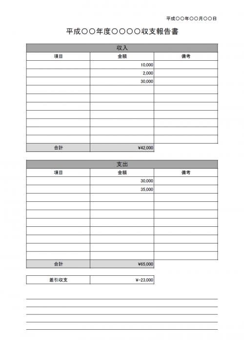 収支報告書のテンプレート