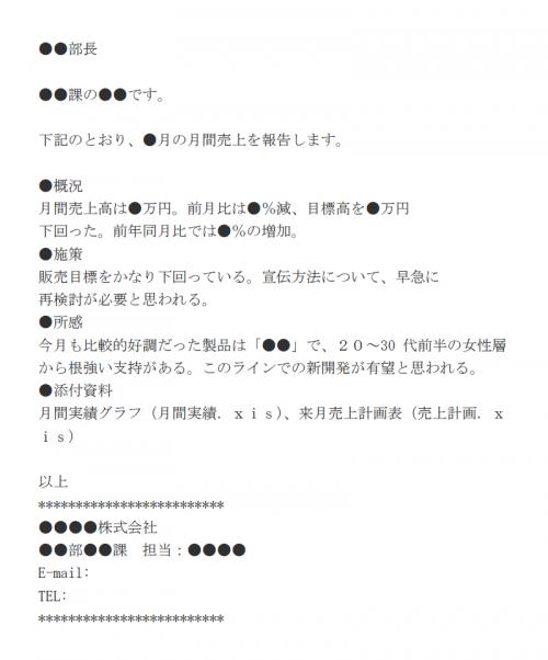 上司へ月間報告をする際のメール文例テンプレート
