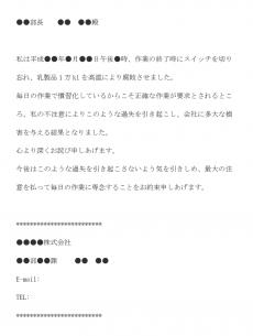 作業ミスによる始末書のメール文例テンプレート
