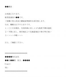 売上状況調査の報告のメール文例テンプレート